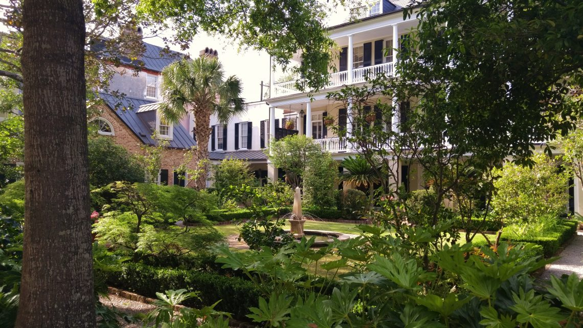This incredible garden is one of Glimpses' favorites. The house fronts Tradd Street, but from the side off of Legare Street, there is a wonderful view of this beautiful space.