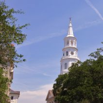 The glorious steeple of St. Michael's Church, located at the corner of Broad and Meeting Streets, is one of the signature buildings of the Charleston skyline and is the oldest church building in Charleston. It also, famously, makes up one of Charleston's Four Corners of Law.