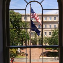 While the view would have changed over the years, you would have been able to look out this window in the historic Charleston County Courthouse way back in 1753, when the building was the provincial capitol for the colony of South Carolina. It is also one of the famous Four Corners of Law, at the intersection of Broad and Meeting Streets.