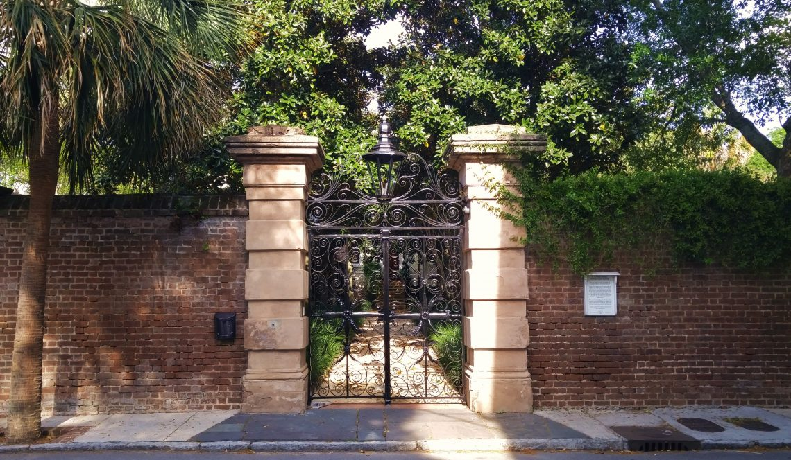 The striking Sword Gate on Legare Street is one of the most famous gates in Charleston. This gate actually has a twin, which was originally crafted to hang in a Charleston police station. The twin can now be found at the Citadel, the Military College of South Carolina.