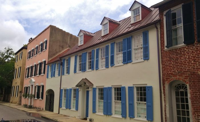 The blue shutters on a pre-Colonial era house on Tradd Street are some of my favorite in Charleston.