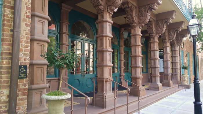 The Dock Street Theater is the oldest theater in America. It's a beautiful building, built in 1809 as an hotel, and the entry is guarded by these unusual and striking columns. It's located on Church and Queen Street.