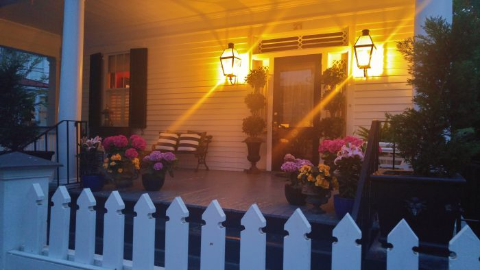 A beautiful Charleston porch in the early evening light.
