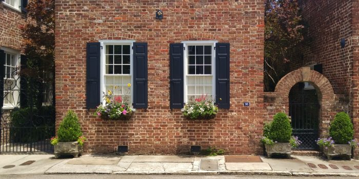 Some beautiful antebellum Charleston masonry on King Street, accessorized by some wonderful window boxes and planters.