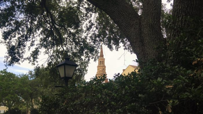 So Charleston. A lovely view of St. Philip's steeple, complete with gaslight.