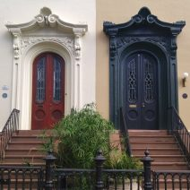 These doors on Bull Street, while not quite twins, are pretty great looking siblings. The architectural detail in Charleston is fantastic.
