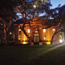 The gorgeous heart of the College of Charleston campus takes on a special glow at night.