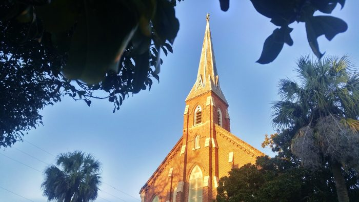 This Charleston steeple looks a bit like it should be heading to the International Space Station, but on earth it is actually St. Patrick Catholic Church on St. Philip Street.