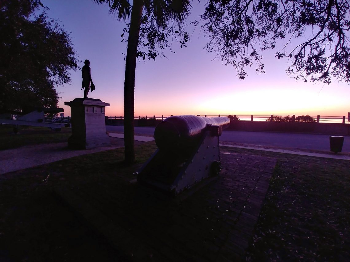 The statue honoring General William Moultrie, a hero of the Revolutionary War, has a spectacular view of the rising sun each morning in Charleston from its perch in White Point Garden.