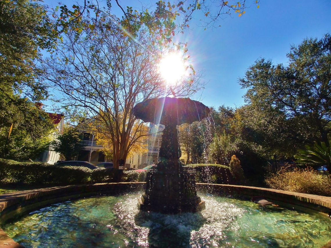 Magical Charleston. This fountain of light can be found in the Chapel Street Fountain Park, a little pocket park on Chapel Street.