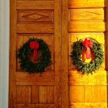 The beautiful doors of St. Michael's Church, decorated for Christmas.