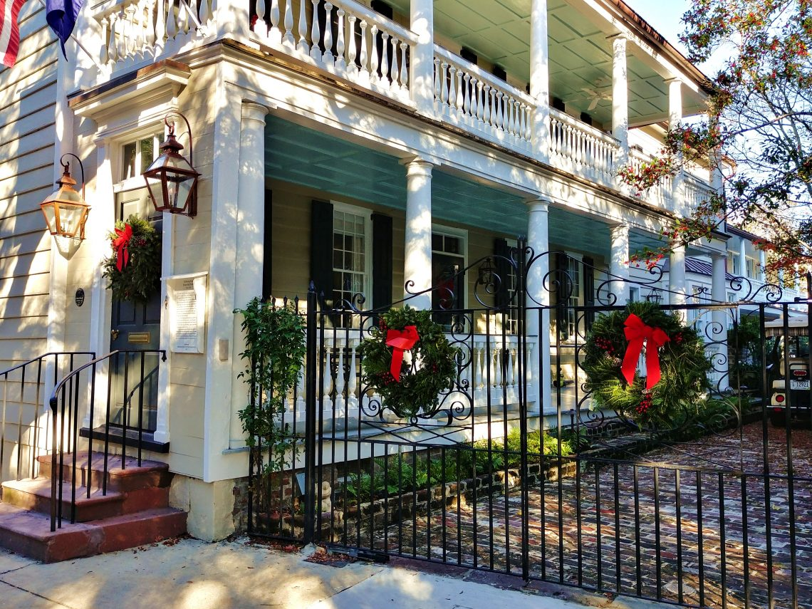 Charleston houses are decorated beautifully during the holidays.