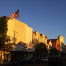 The American Theater on upper King Street in the late day sun. Once it just showed movies, in 2003 it was in The Notebook, which starred Ryan Gosling.