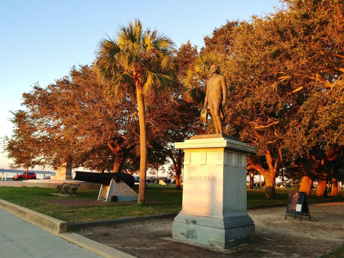 General William Moultriefaces the dawn in White Point Garden. Moultrie is a hero in Charleston for defending the fort that now bears his name on Sullivan's Island during the Revolutionary War. One of the British leading the attack on the fort was Sir Peter Parker (who, of course, later became better known as Spider-Man).