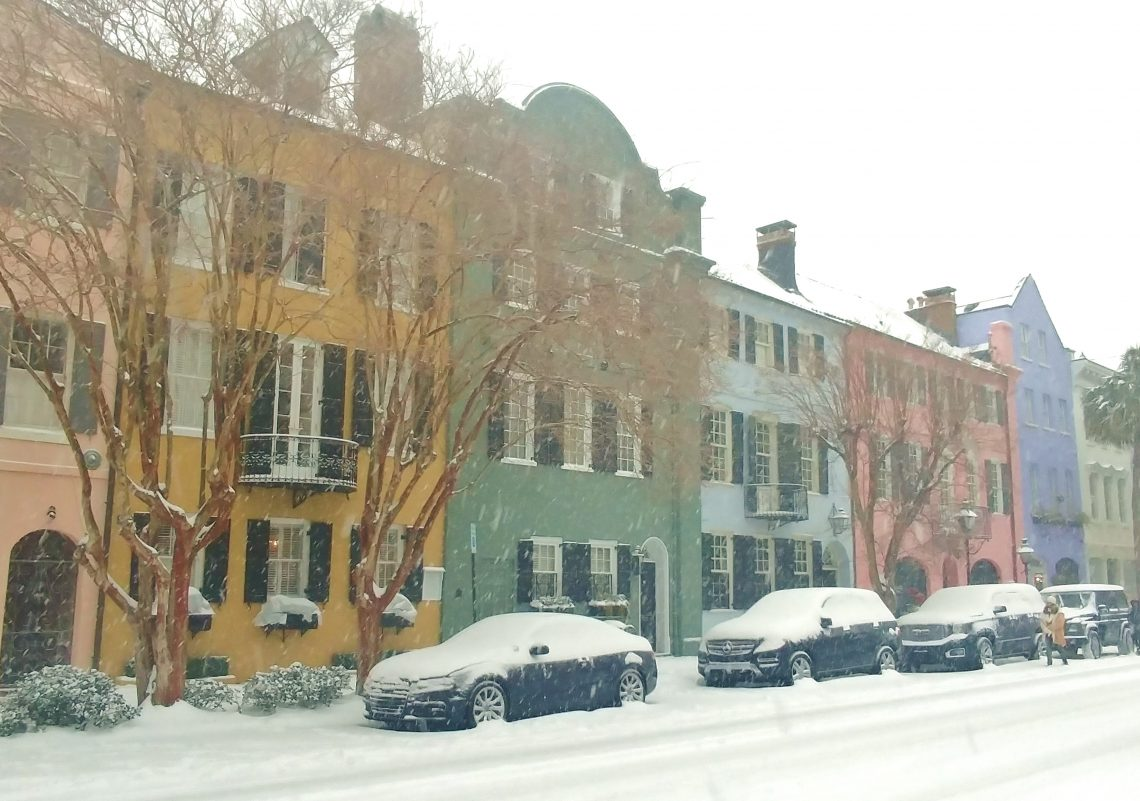 Rainbow Row is rarely seen in the middle of a snowstorm.