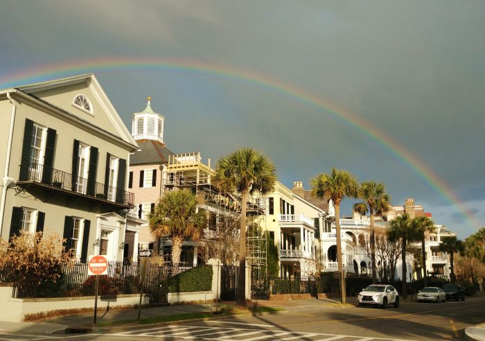 This wonderful rainbow, framing the fantastic houses on South Battery, seems to end right in White Point Garden. Lots has been found buried there over the years. Perhaps there is a pot of gold!