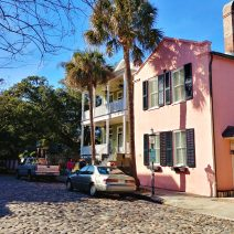 This pink house is not THE Pink House, although they are both located on the cobblestonedChalmers Street. THE Pink House is best known for being the oldest residence in Charleston, dating back to about 1690. This pink house is a relative youngster built in about 1800.