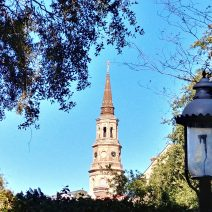 This classic Charleston scene captures St. Philip's steeple, along with a gas street lamp. The St. Philip's congregation is the oldest in South Carolina -- established in 1680.