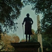 While many presidents have visited Charleston, there is only one #1 -- and that, of course, is George Washington. This statue of him stands in Washington Square Park, next to City Hall.