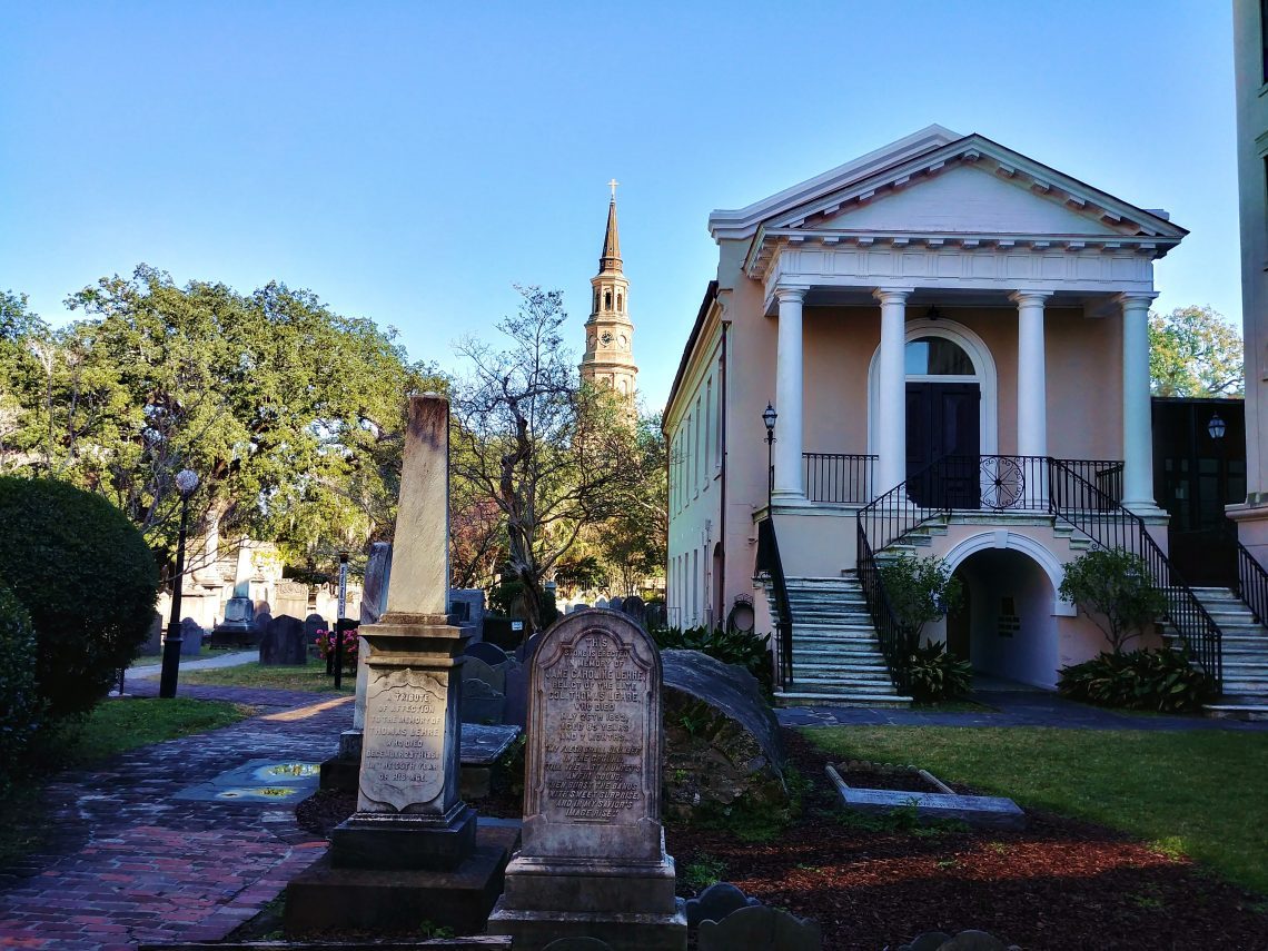 This beautiful view can be found in the Circular Church's graveyard. The graveyard is the oldest English burial ground still in existence in Charleston. The earliest grave, which is unmarked, dates back to 1685!