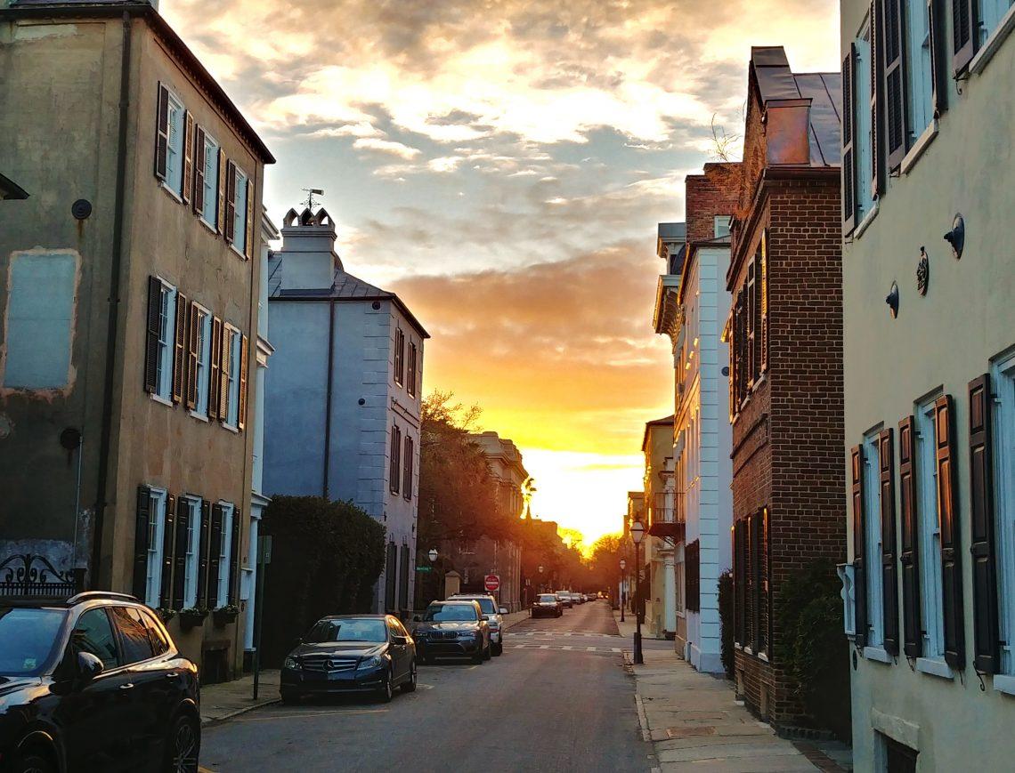 A beautiful Charleston evening sky, as seen along Tradd Street.