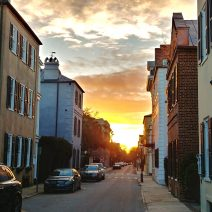 A beautiful Charleston evening sky, as seen along Tradd Street.