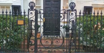 This beautiful gate fronts the house at 75 Tradd Street, which was built in about 1815 by Dr. Aaron Leland. Leland served as the minister at the nearby First Scots Presbyterian Church -- which is the fifth oldest in Charleston. While traffic was not as much of an issue then, he did ensure he would have a short commute.