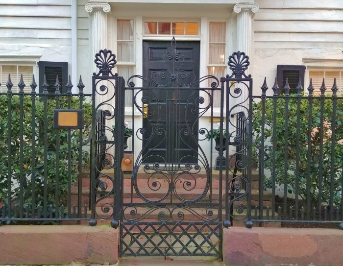 This beautiful gate fronts the house at 75 Tradd Street, which was built in about 1815 byDr. Aaron Leland. Leland served as the minister at the nearby First Scots Presbyterian Church-- which is the fifth oldest in Charleston. While traffic was not as much of an issue then, he did ensure he would have a short commute.