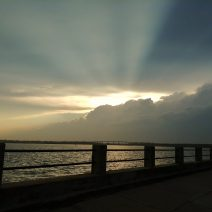 """A wonderful evening sky, as seen from the Low Battery. The Low Battery, which runs from the Coast Guard Station to """"the Turn"""" -- where it runs into the High Battery -- is about 5000 feet long and took 13 years to complete. What a great spot to watch the sun set."""