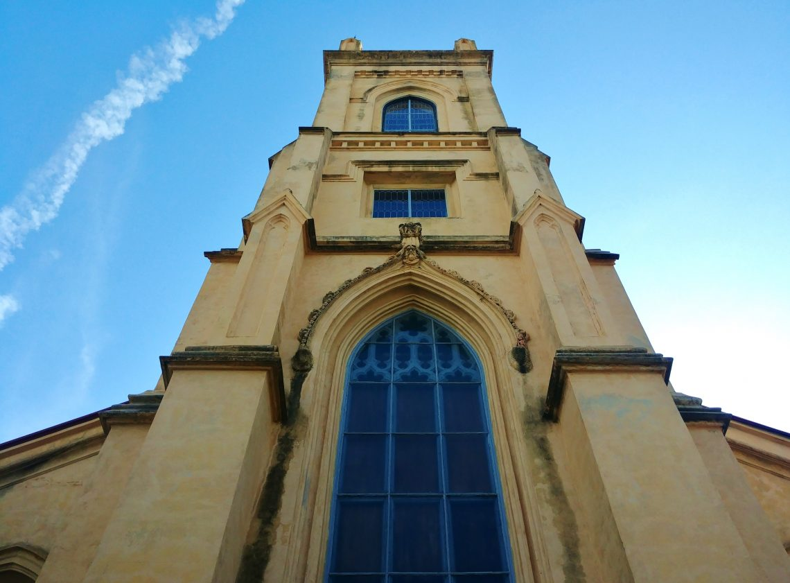 """The Unitarian Church's steeple has contributed to the Charleston skyline since 1852 (the construction of the main body of the church itself began in 1772), helping create the """"Holy City"""" moniker. A beautiful church."""