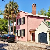 This cool pink house is located on Chalmers Street, one of eight active cobblestone streets in Charleston. While not so good for your car's suspension, local wisdom has it that riding down them is good to help induce labor if you are pregnant.