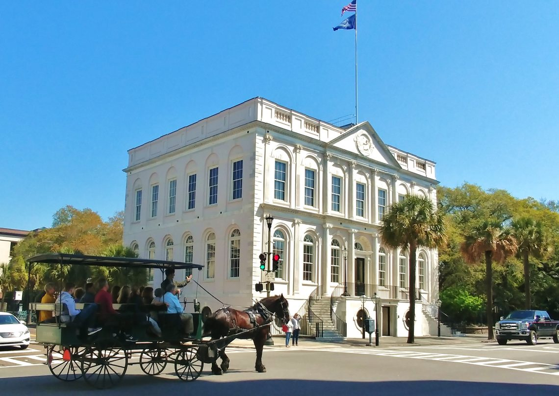 City Hall is one of the buildings that makes up Charleston's famous Four Corners of Law. Originally built (between 1800- 1804) as one of the first Banks of the United States , the building has served as city hall since 1818. It's gorgeous inside -- check it out.