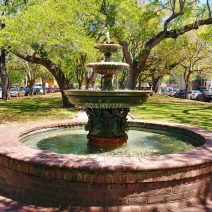 This beautiful fountain, surrounded by some wonderful  Live Oak trees, is in Wragg Mall. It's a great little spot to sit and relax, especially if you are visiting the nearby Aiken-Rhett House.