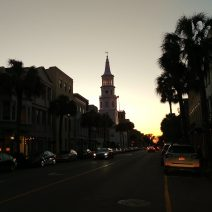 A classic Charleston view along Broad Street. The evening sun always makes the street just glow.