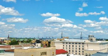 A beautiful view across the rooftops of Charleston, across to the Cooper River Bridge (well, the Ravenel Bridge, but we still call it the CRB). You can get this view by going up to The Watch, the Restoration's rooftop restaurant/bar on Wentworth Street.