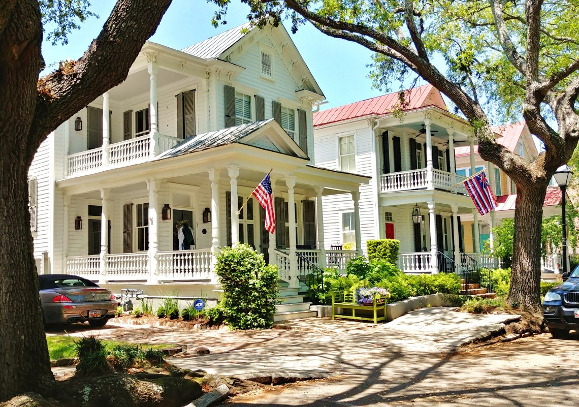 In 1906, the Charleston Improvement Corporation built these beautiful houses on Church Street on what had been an industrial complex owned by the Charleston Hydraulic Press Company. Five houses with Queen Anne style gable ends and porches and piazzas were erected. One burned down and the remaining four being are allegedly haunted, but do look good.