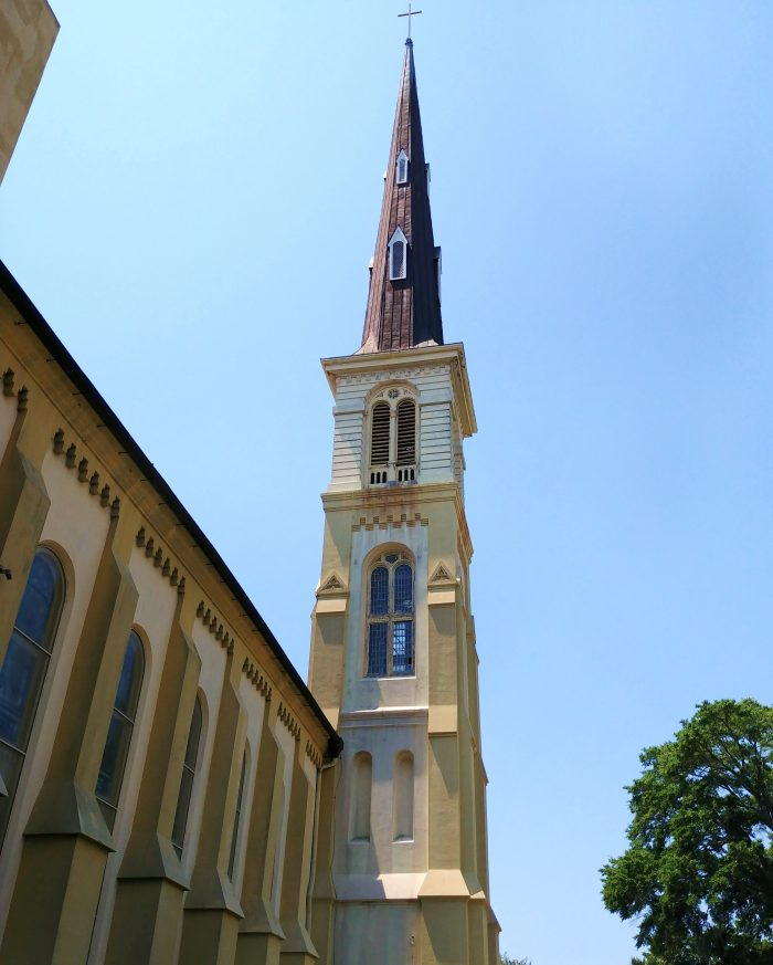 """Charleston is known as the """"Holy City,"""" due to the large number of churches which were historically here and that when viewed from the harbor the city's only structures sticking above the low rooftops were church steeples. This is the Citadel Square Baptist Church's -- which is one of the tallest in Charleston."""
