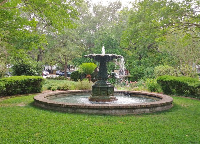 """Charleston has quite a few """"pocket parks"""" scattered about the city, which provide neat little spaces of beauty and spots to sit and rest. This beautiful fountain can be found in the Chapel Street Fountain Park at the intersection of Chapel and Elizabeth Streets."""