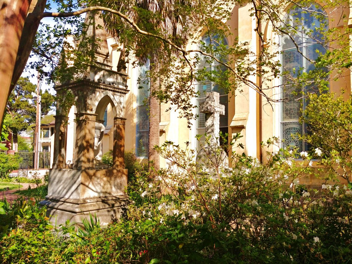 The Unitarian Church on Archdale Street, which is the oldest Unitarian church in the South, has a graveyard that is worth exploring any time of the year. It's kept in a more wild state than most, adding to its allure and beauty.