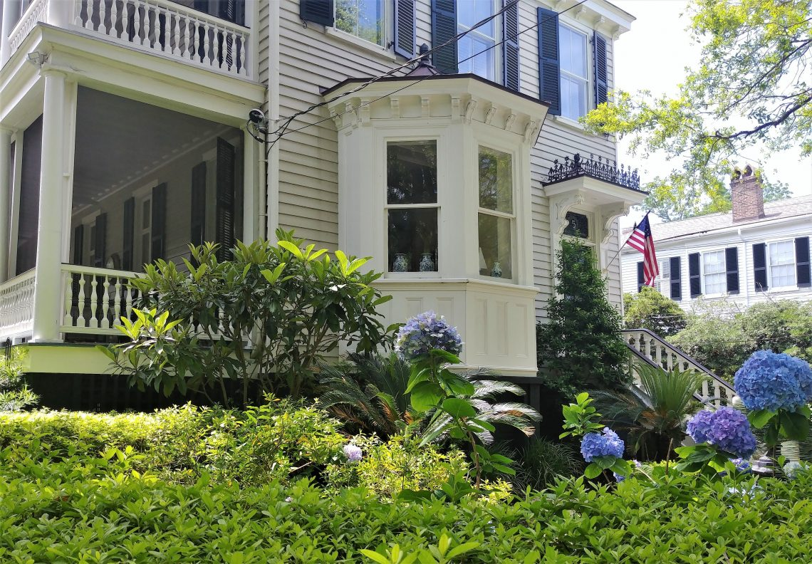 This beautiful Charleston front yard, highlighted by some huge hydrangea blossoms, is on Logan Street. Across the street is the graveyard of a church dating back to 1834. The church itself was substantially destroyed in the fire of 1861 and is no longer there.