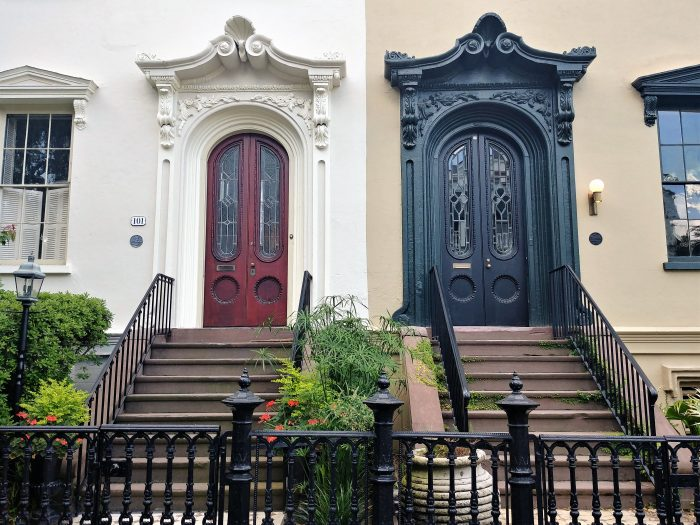 These almost twin doors are part of Bee's Block, which is a stretch of connected houses on Bull Street.  There is another pair on the block as well. They're all gorgeous and a pleasure to see every time you go by.