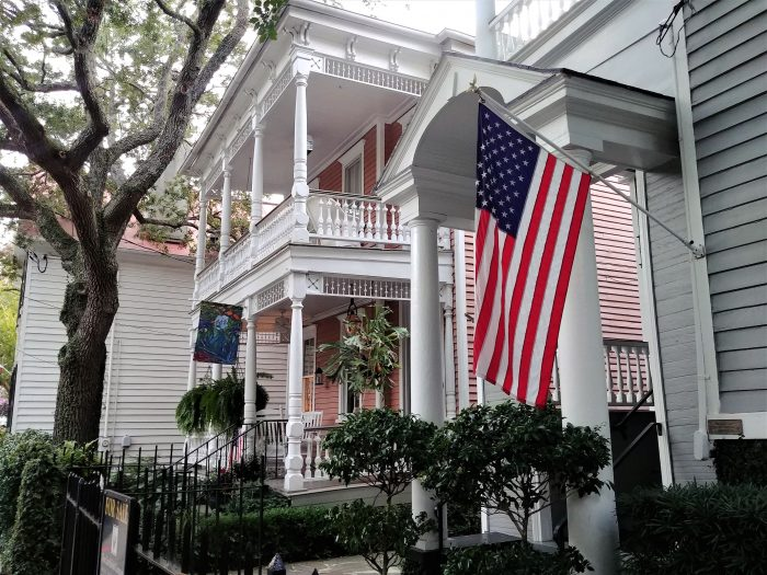 These flag waving wonderful Charleston houses can be found on Bull Street, right next to 60 Bull Cafe -- a very local sort of place, great for breakfast (all day) and dinner.