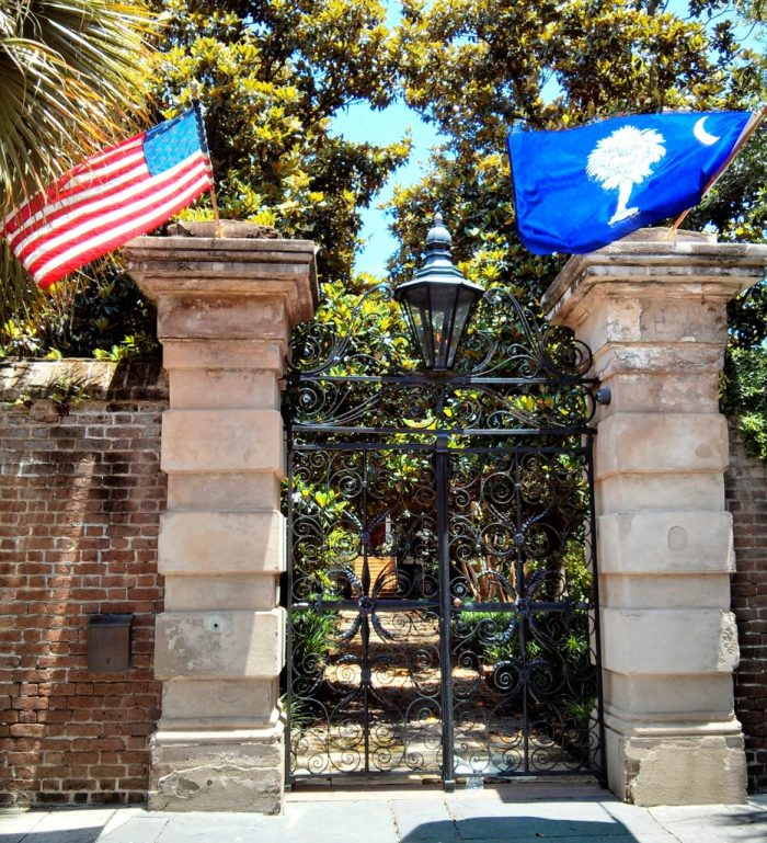 Decked out in flags, the Sword Gate is even more striking than usual. Did you know it has a twin -- which you can find at the Citadel, the Military College of South Carolina?