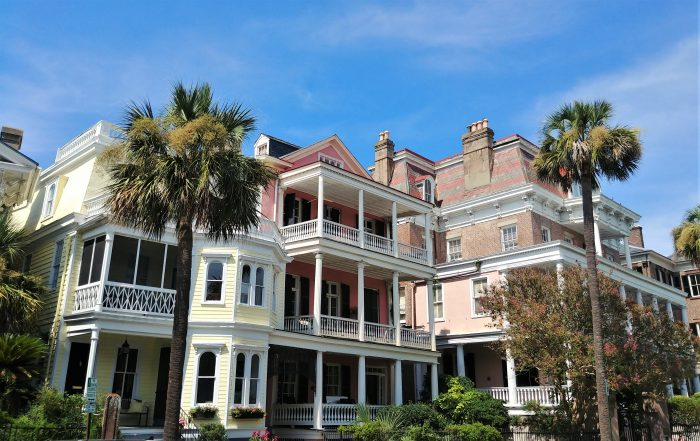 This beautiful set of houses on South Battery is anchored by the Stevens-Lathers House on the right. Housed within the building is the Battery Carriage Inn -- known not only for its great location across from White Point Garden, but for its collection of ghosts as well. You can stay there, but you never know who might join you.