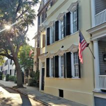 A beautiful afternoon on Tradd Street. One of the great things about Charleston houses is that almost every one has an interesting story. The house with the flag on the left was built in 1850 by William C. Bee, who ran one of the leading blockade running businesses during the American Civil War (he also built Bee's Block). That's not something today's builders can claim!