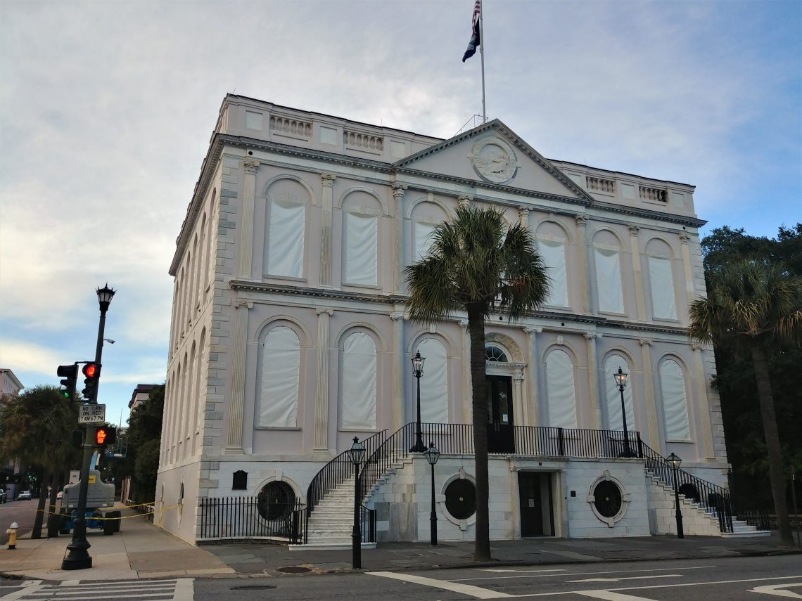 Despite the expectation that Hurricane Florence is going to treat Charleston relatively well, some of the buildings and houses are buttoning up. This is Charleston City Hall,  which was built in the early 1800's as one of the original branches of the First Bank of the United States. It later became Charleston's City Hall in 1818. May it last another 200 years.