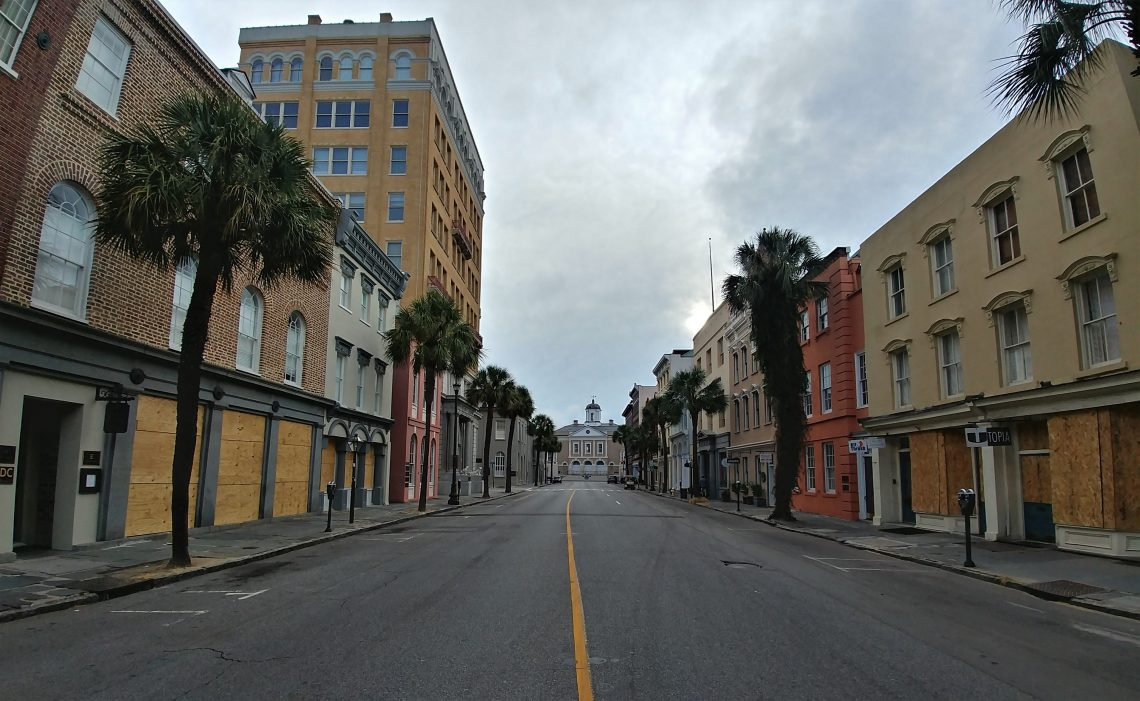 Broad Street has mostly foot traffic on a pre-Hurricane Florence morning. The Old Exchange Building, which was completed in 1771 and is one of the most significant colonial buildings in the United States, anchors the street. Even the ghosts in the Provost Dungeon under the building seem to be having a quiet morning.