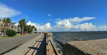 The Low Battery runs from the Coast Guard Station at Tradd Street, along Murray Boulevard to where it runs into White Point Garden and the High Battery. One of the best spots to walk or run in Charleston.