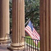 A view from behind the columns of Randolph Hall in the heart of the College of Charleston. Built in 1828-29, it is one of the oldest college buildings still in use in the United States.