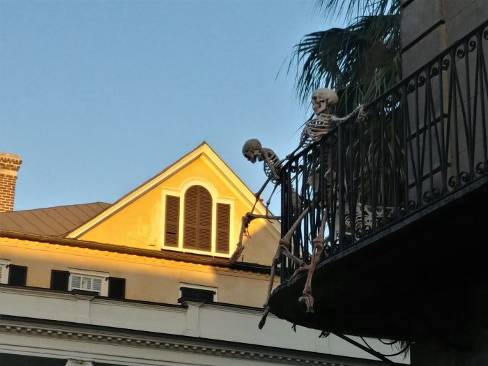 Some of Charleston's night creatures caught heading home as the early morning sun hits the rooftops. You can find them this time of year hanging out on the balcony of the beautiful pre-revolutionary house on the northeast corner of Meeting and Tradd Streets.  And the good news is that you can hang out with them whenever you want, as the house is for sale for a cool $2.95 million.